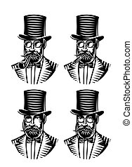 vector set monochromatic gentlemen with different accessories