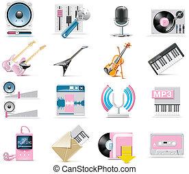 vector, set, muziek, pictogram, audio