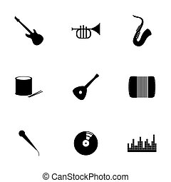 vector, set, muziek, pictogram