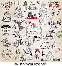 vector, set:, navidad, calligraphic, diseñe elementos, y, página, decoración, vendimia, marcos