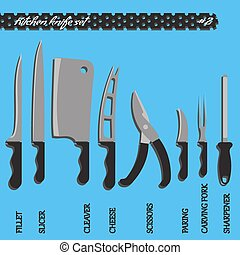 Vector set number two kitchen knives