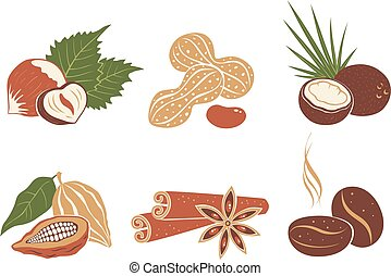 Vector set nuts icons