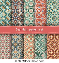 Vector set of 10 seamless mosaic patterns. Arabic tile...