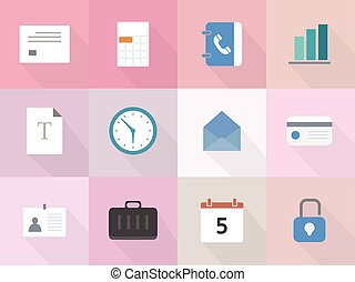 Vector set of 12 flat business icons with long shadow