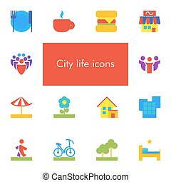 Vector set of 14 icons showing city life in flat material design style
