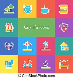 Vector set of 14 icons showing city life in outline style