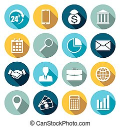 Vector set of 16 flat business icons.