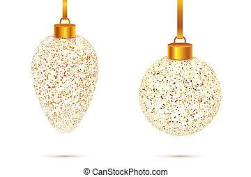 transparent Christmas glass balls with golden dust