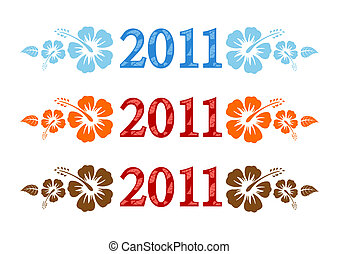 Vector set of 2011 text with hibisc