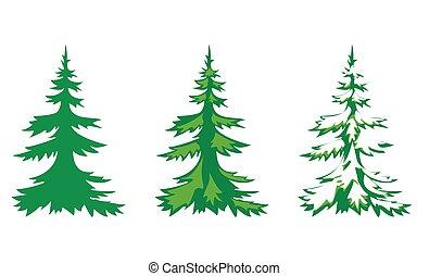 vector set of 3 fir-trees
