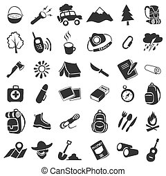 Vector set of 36 items camping icons