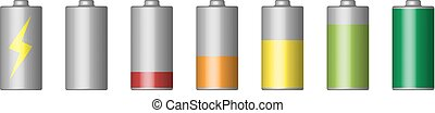 Vector set of 3D battery.
