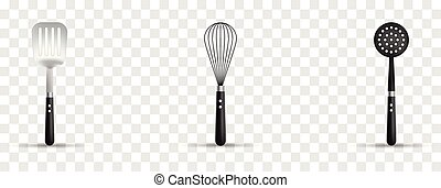 Vector set of 3d realistic kitchen utensils. Skimmer, whisk, spatula on transparent background.