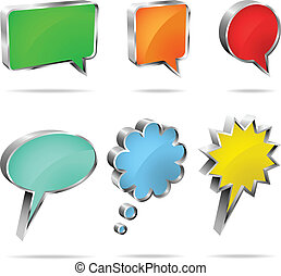 Vector set of 3D speech and thought bubbles isolated on white background.