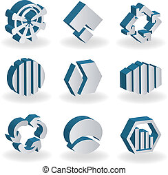 Vector set of 3D symbols