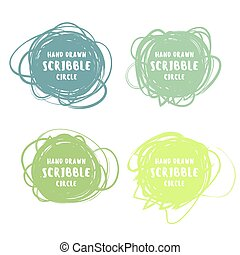 Vector set of 4 hand drawn colorful scribble logo