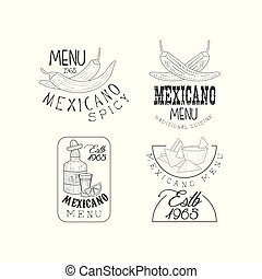 Vector set of 4 hand drawn logos for Mexican restaurant. Monochrome emblems with chili peppers, nachos and tequila bottle