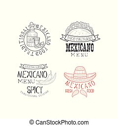 Vector set of 4 Mexican restaurant Logos. Hand drawn emblems with tequila bottle, tacos, chili peppers and sombrero hat with mustache