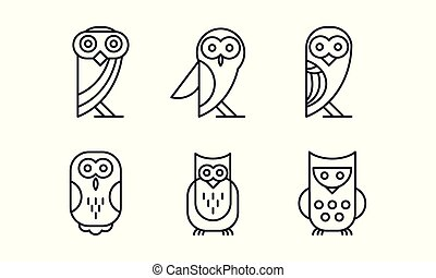 Vector set of 6 different owl. Forest bird. Simple linear icons. Elements for business card, t-shirt print or logo