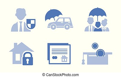 Vector set of 6 monochrome icons related to insurance service theme. Protection of family, home, car and money