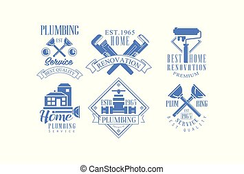 Vector set of 6 monochrome logo templates for plumbing and construction services. Home renovation, house painting and repair