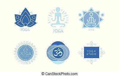Vector set of 6 monochrome logos for yoga studio or meditation center. Harmony and relaxation theme