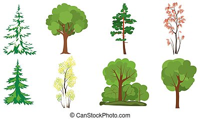 vector set of 8 trees