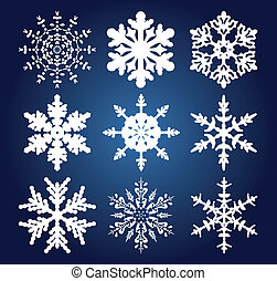 vector set of 9 snowflakes