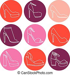Vector set of 9 woman shoes icons