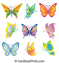 Vector set of a beautiful  butterfly