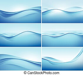 Vector Set of Abstract Blue Wave Backgrounds