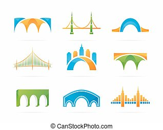Vector set of abstract bridge connection logo - Vector logo...