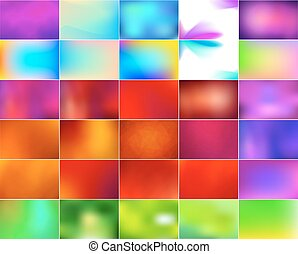 Vector set of abstract colorful blurred backgrounds.