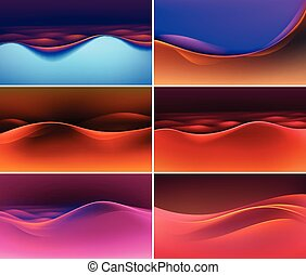 Vector Set of Abstract Colorful Multicolored Wave Backgrounds