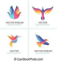 Vector set of abstract gradient emblems and logo design...