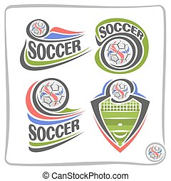 Vector set of abstract logos for Soccer
