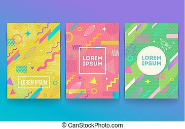 Vector set of abstract memphis style retro background