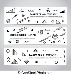 Vector set of abstract memphis style retro banners