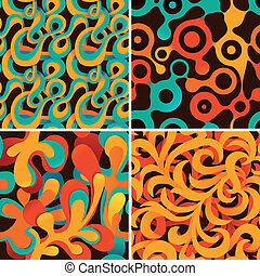 vector set of abstract psychedelic patterns - seamless...