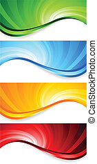 Vector set of abstract swirl banners; clip-art
