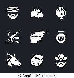 Vector Set of Afghanistan Crime Icons. - Pakistani,...