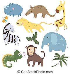 Vector set of african animals