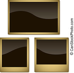 Vector set of aged photo frames isolated on white background.