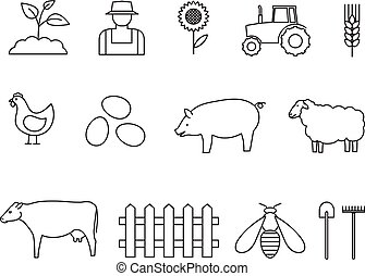 Vector set of agriculture icons. Farming icons. Line style icons set.