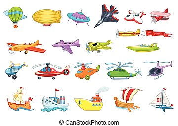 Vector set of air and water transport illustration - Set of...