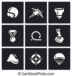 Vector Set of Air Force Icons. Pilot, Fighter, Bomb, Order, Loop, Joystick, Soldiers forage cap, Aim, Parachute.