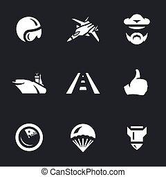 Vector Set of Aircraft carrier Icons. - Pilot helmet,...