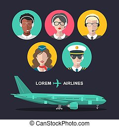 Vector set of airplane and cabin crew and airport team icons in flat style. Aviation male, female avatars illustrations