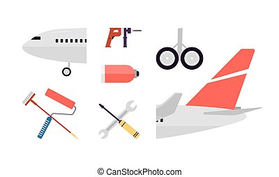 Vector set of airplane elements and tools for aircraft maintenance and repair