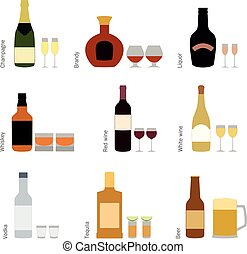 Vector set of alcohol bottles with glasses